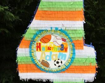 Large Number Four Pinata - Customizable. Numero Cuatro Pinata