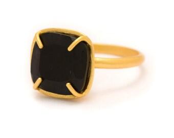 Onyx in Gold Gemstone Ring - Yellow Gold Ring - Square Cushion Cut  - Gemstone Ring - Sizes  5, 6, 7, 8, 9, 10