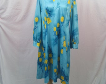Super Cute Womens Vintage 60s / 70s Retro Blue And Yellow Floral TULIP Dress