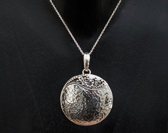 Silver Pendant, Silver Necklace, Hammered Silver, Silver Circle, Textured Silver, Sterling Silver