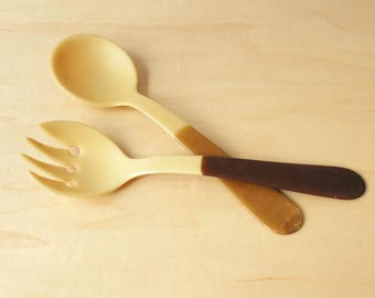 Vintage Celluloid Fork and Spoon Set, Vintage Salad Serving Set, Vintage Plastic Fork and Spoon Set