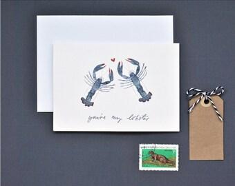 You're My Lobster Valentine Card, Lobster Valentine's Card, Illustrated Valentine's Card, Anniversary Card, Wedding Card, Unusual Valentines