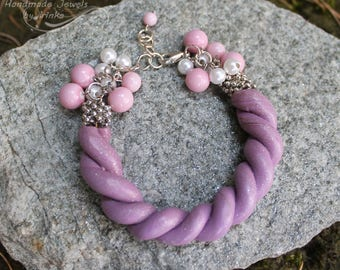 Beautiful bracelet, soft colored polymer clay