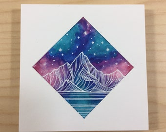 Small Mountain Galaxy Block - Original Pen and Ink Drawing on Wood - Colorful Mountain Art