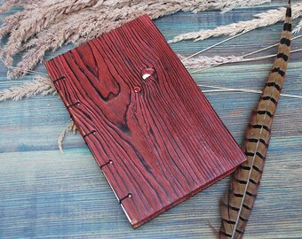 Red Notepad Wooden Notebook Personalized wooden notebook wooden journal wooden sketchbook