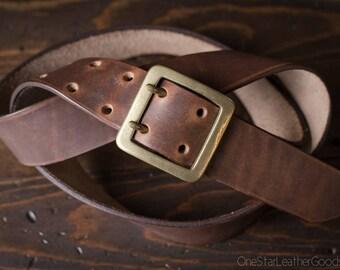 "Custom sized belt, 1.5"" width, Horween Dublin leather, center bar buckle - brown nut"