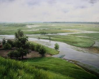 Oil landscape, Spring, Original, After the rain