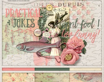 April Fools, Play Pranks, Instant Download, Digital Scrapbooking Kit, Practical Jokes, Poisson d'Avril, Goldfish, Paper Pack, Embellishments