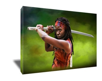 FREE SHIPPING The Walking Dead's Badass Michonne Canvas Art