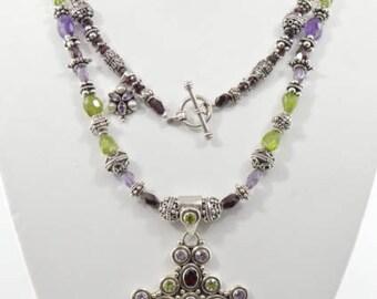 Garnet Peridot Amethyst Rainbow Necklace with Garnet Peridot Amethyst Cross Pendant