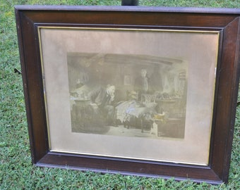 Vintage Lithograph The Doctor by Sir Luke Fildes Medical Theme Man with Sick Child Wall Decor Antique Frame with Glass  Panchosporch