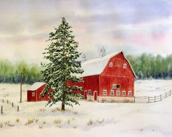 Red Barn watercolor original winter farm scene rustic landscape 12x16