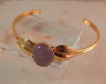 Gold Flower Bracelet with Cape Amethyst Cabochon #635-414