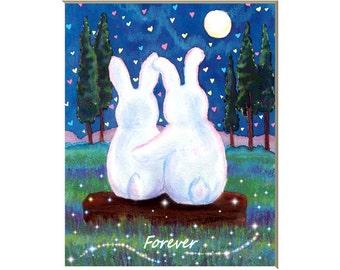 White rabbit art print, bunny decor, nursery print, wedding, forever, hearts, children's prints, art for kids, love theme, 8x10 print