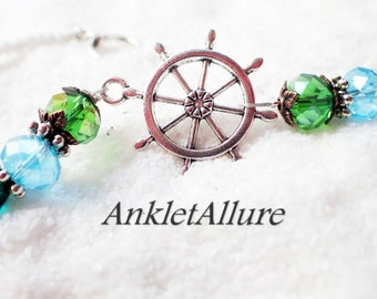 Anklet Ankle Bracelet Ships Wheel Ankle Bracelet Nautical Anklet GUARANTEE