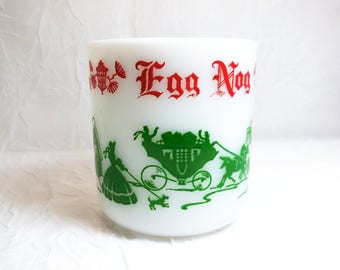 Hazel Atlas, Milk Glass, Egg Nog Mug, Vintage Christmas Mug