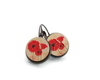 Poppy earrings, flower earrings, poppy jewelry, red earrings, red poppy earring, red poppy, flower jewelry, gift for her, red flower earring