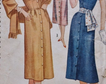 1950s Sheath Dress /Stole Vintage Sewing Pattern/ Simplicity 4239/ Bust 34