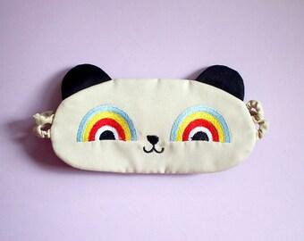 PANDA Sleep Eye Mask Rainbow Eye Mask Cute Sleeping Mask Animal Eyemask Bear Mask Travel Mask Eye Cover Blindfold Eye Shield RAINBOW Gifts