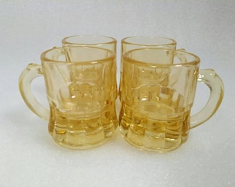 Vintage Yellow Federal Glass Shot Glasses set of 4