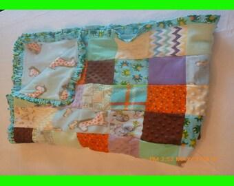 Patchwork Crib Quilt - Light Blue Fleece with Giraffes, Frog ruffled flannel border