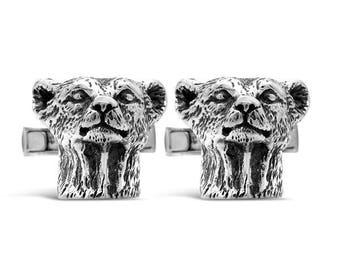 Sterling Silver Cheetah Head Cufflinks