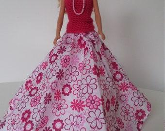 Handmade Barbie pink evening dress