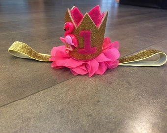 gold and pink flamingo first birthday crown, pink gold first birthday flamingo crown,