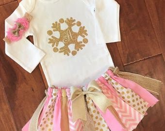 1st Birthday Outfit Baby Girl - Baby Girl Tutu - Baby Girl Pink and Gold Birthday Outfit - Pink and Gold Birthday - Onderland Birthday