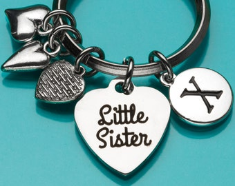 Little Sister Keychain, Kid Sister Key Ring, Sister Gift, Heart Charm, Personalized Keychain, Charm Keychain, 663,793,794,717