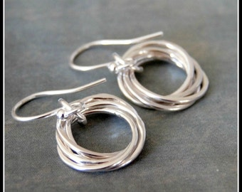 Five Interlocking Rings Silver Earrings, 50th Birthday, Entwined Rings Jewelry