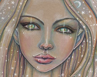 Starry Girl - Original Drawing - Woman, Fantasy, Moon, Celestial Artwork by Molly Harrison