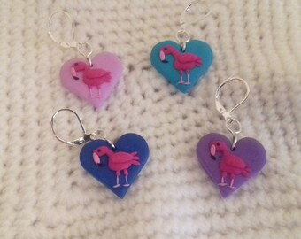 set of 4 heart shaped flamingo stitch markers