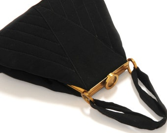 Vintage· Festive Bag · Black· Trapezoidal· Quilting· Ironing· Wide Opening