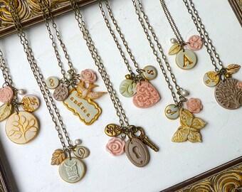 Color Customized Bridesmaids Necklaces- Soft Pastels tones -  Set of 8 pieces