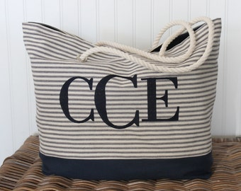 Ticking Book Bag | Shopping Bag | Canvas Tote Bag | Monogrammed Beach Bag | Large Tote | Teacher Gift | Gift for Mom | Bridesmaid Gift