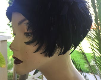 Vintage wool hat dark blue feather accent Glenover hat by Henry Pollak New York 1950's