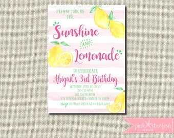 Lemonade Birthday Invitation, Sunshine and Lemonade, Lemonade Stand Invitation, Lemonade Invite, Lemonade Party Invitation, Pink Lemonade