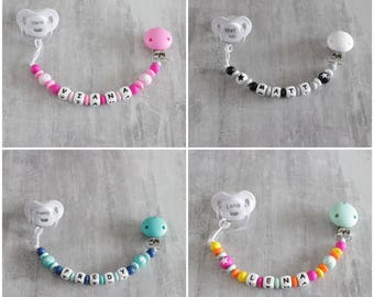 Pacifier lollipop star, personalized with baby's name, special teething Silicon beads