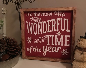 Its the Most Wonderful Time of the Year Sign, Christmas Sign, Rustic Wood Sign, Farmhouse Sign, Painted Wood Sign,