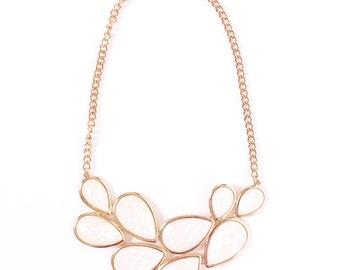 White statement necklace, white bib necklace, white necklace