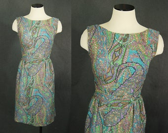 vintage 60s Cocktail Dress - Paisley Silver Lurex Wiggle Dress 1950s Psychedelic Party Dress Sz XS