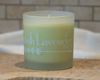 Lavender & Lemongrass Essential Oil Soy Wax Candle in Frosted Glass