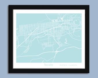 Tecate map, Tecate city map art, Tecate wall art poster, Tecate decorative map