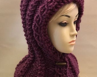 PDF Pattern | All in One- Cable Button Up  Hood Scarf, Sized Child to Adult