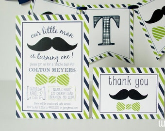 Little man birthday party invitation, thank you card - mustache party - PERSONALIZED - printable invitation - printed - DIY // MUST-01