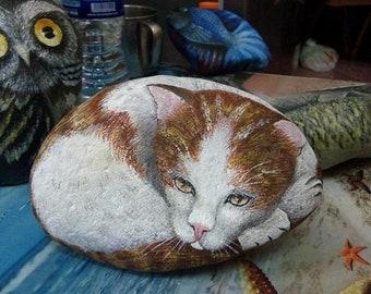 Stone painting cat
