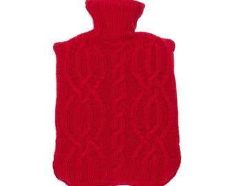 Red Cable Knit Lambswool Hot Water Bottle Cover