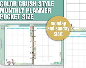 Printable monthly planner pocket size undated monthly spread calendar filofax pocket kikki k small