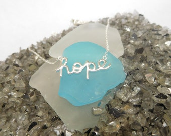 Hope Necklace - Sterling Silver - Word necklace - Inspiration Jewelry*